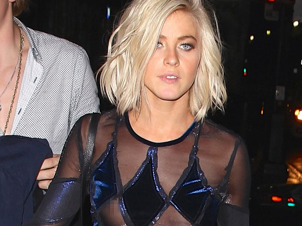 Blurred-eyes Julianne Hough experiences nip-slip and nearly falls leaving DWTS after party