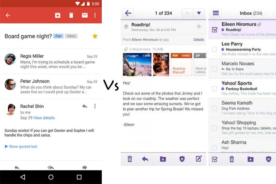 Google mail vs Yahoo mail Application
