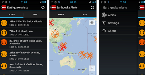Earthquake Alert Apps for Android Earthquack MONZONITO