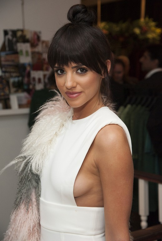 Braless Lucy Mecklenburgh escapes wardrobe malfunction