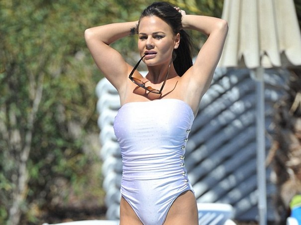 Geordie Shore Star Chantelle Connelly Sizzles in Wet White Swimsuit