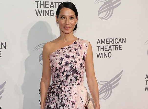 Lucy Liu Shows off pink floral dress at Theatre Gala